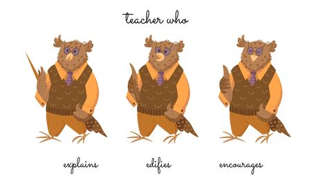 A teacher Mr Eagle owl that explains, censures, and encourages on white
