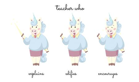 A teacher Miss Unicorn that explains, censures, and encourages on white