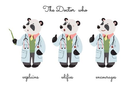 A doctor Mr Panda that explains, censures, and encourages. Vector.