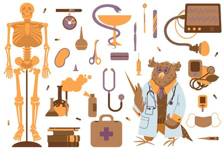 A set of clipart on the topic of medicene and science. Doctor and attributes for medicene. Vector illustation. Vektorové ilustrace