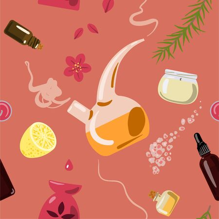Seamless pattern with attributes for aromatherapy. Vector illustration.
