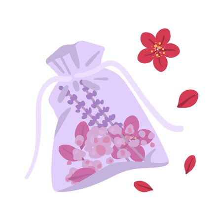 Sachet. Aroma bag with flowers, petals and salt. Vector illustration.