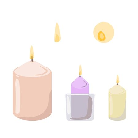 Set of aromatic candles. Vector.