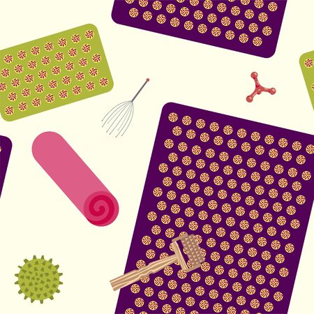 Seamless pattern with attributes for massage and self-massage. Vector.