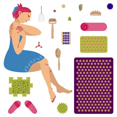 The girl does self-massage. A set of massagers and applicators for massage and self-massage. Vector.