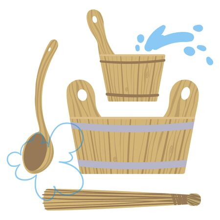 Set of pictures on the theme of Taking steam in the bath. Vector.
