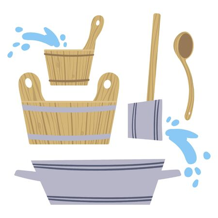 Set of pictures on the theme of Taking steam in the bath. Vector. 矢量图像