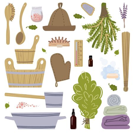 A large set of pictures on the theme of Taking steam in the bath. Vector.