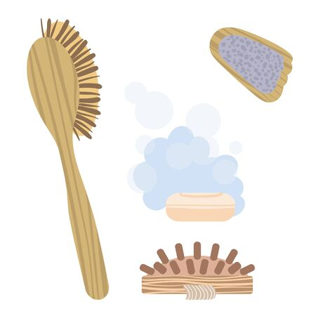 Set of pictures on the theme of Taking steam in the bath. Vector. Illustration