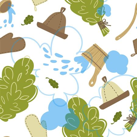 Seamless pattern with attributes and detals for sauna bath. Vector.