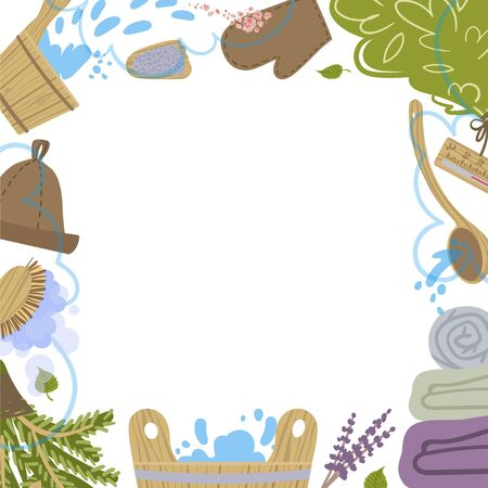 Frame with atributes and detals for sauna bath. Vector. Ilustracja