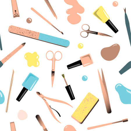 Seamless pattern with accessories for manicure. Vector illustration.
