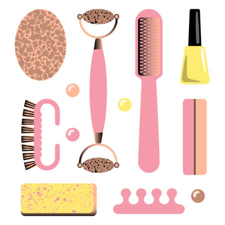 Set of manicure accessories and tools. Vector illustration.