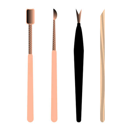Set of manicure accessories and tools. Trimmers, cuticle pusher, scraper. Vector illustration.
