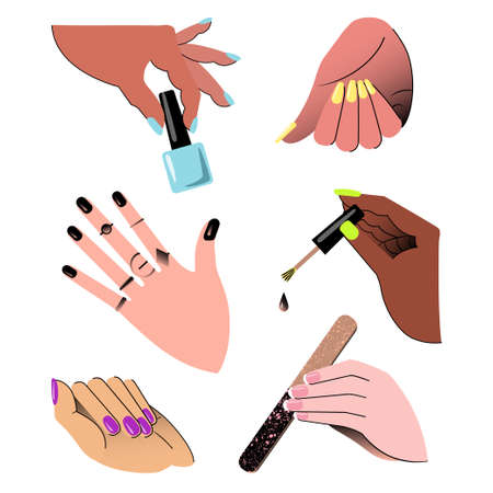 Hands showing manicure and nail care. Set. Vector illustration. Vectores