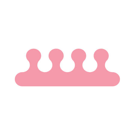 Pink toe separators. Accessories for pedicure. Vector llustration.