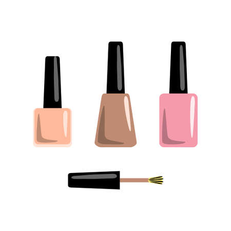 Set of manicure accessories and tools. Nail polishes. Vector illustration.