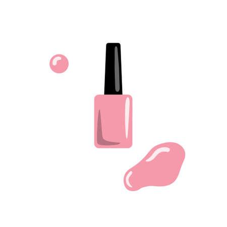 Nail polish, stain and polish drop. Vector illustration.