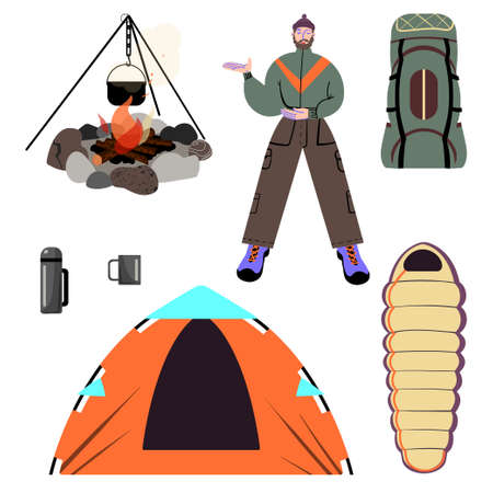 A set of pictures about trekking, camping and traveling in the wild. Vector illustration.