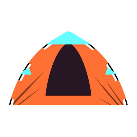 Orange tent for hiking and trekking. Vector illustration.