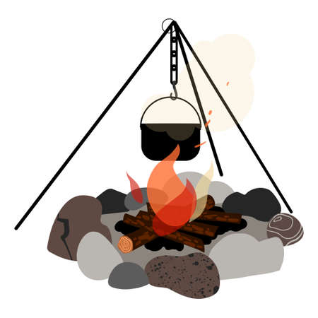Campfire and hanger with a cooking pot hanging from it. Vector illustration.