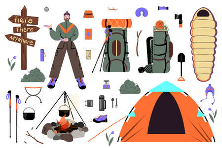 A set of pictures about trekking, camping and traveling in the wild. Vector.