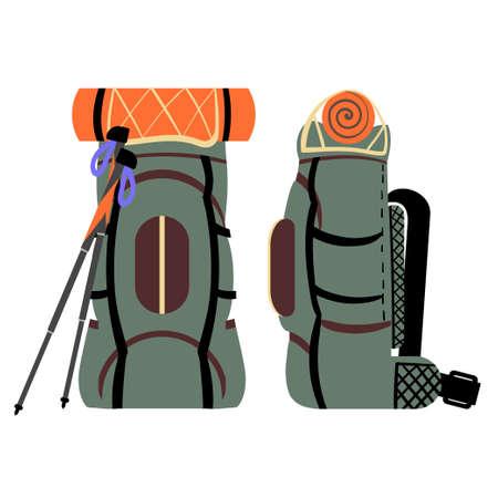 Green travel backpack for hiking or trekking. Vector illustration.