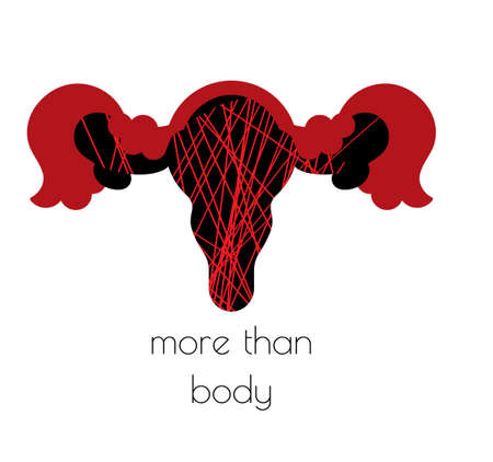 Women health concept clipart. The womb is larger than the body. Women health along with emotions. Vector. Ilustración de vector