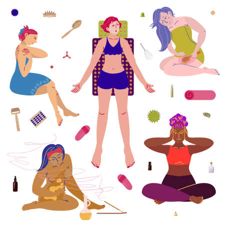 Girls and various types of massage. Beauty, care, wellness concept clipart. Vector illustration. Flat style. Vectores