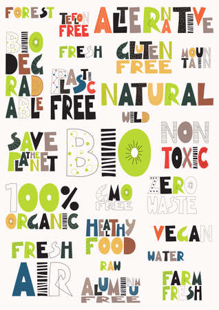 Slogans and words. Environmental protection. Colored letters. Vector illustration. Illustration