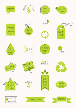 Set of labels. Natural and organic products. Vector illustration. Minimalism style.