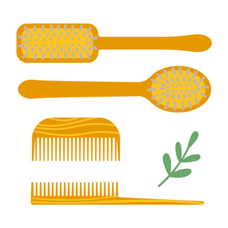 Eco friendly lifestyle combs set. Vector illustration in a flat style.