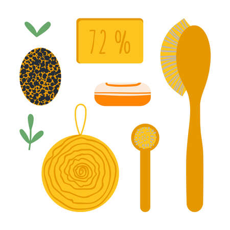 A set of cleaning accessories for a zero waste lifestyle. Brushes and soap. Vector illustration in a flat style.