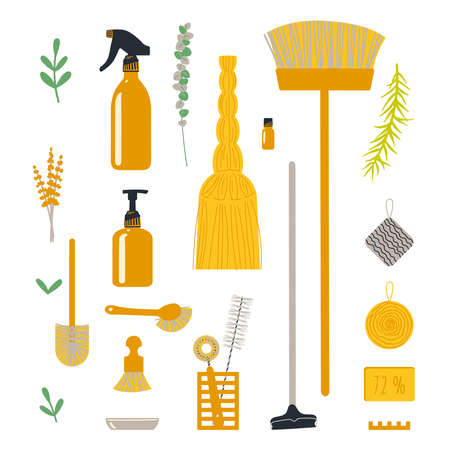 A set of accessories for cleaning the house for a zero waste lifestyle. Vector illustration in a flat style. Иллюстрация