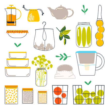 A set of reusable food storage containers for a zero waste lifestyle. Vector illustration in a flat style.