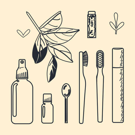 A set of accessories for oral hygiene with a waste-free lifestyle. Bamboo toothbrushes. Vector illustration in a line drawing style. Иллюстрация