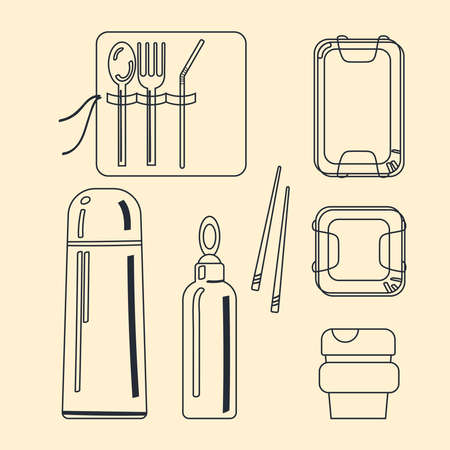A set of reusable containers for walking with a zero waste lifestyle. Vector. Illustration in a line drawing style. Иллюстрация