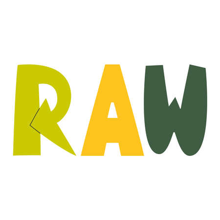 The word Raw, which is drawn in vector. Illustration.