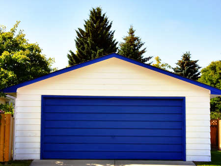 garage on house: Blue Garage Door