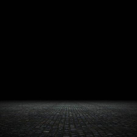 Punto vacío iluminado fondo oscuro, render 3d Foto de archivo