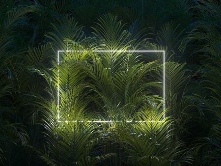 Minimal nature concept. Creative layout made of tropical leaves with neon frame. Flat lay.