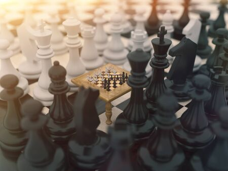 Chess board game concept for Simulation Hypothesis, Theory or ideas, competition and strategy. 3d rendering