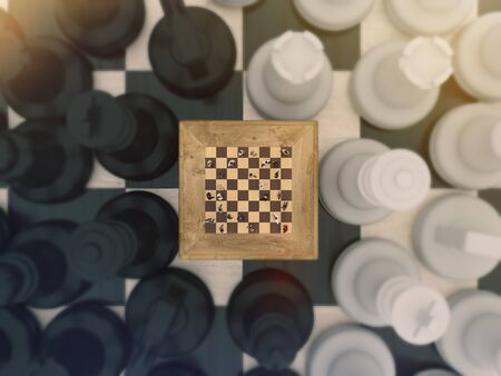 Chess board game concept for Simulation Hypothesis, Theory or ideas, competition and strategy. 3d rendering Imagens