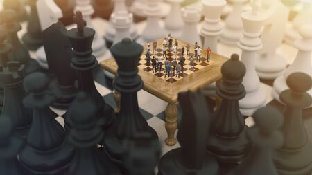 Chess board game concept for ideas and competition and strategy or Simulation Hypothesis, Theory concept. 3d rendering Imagens