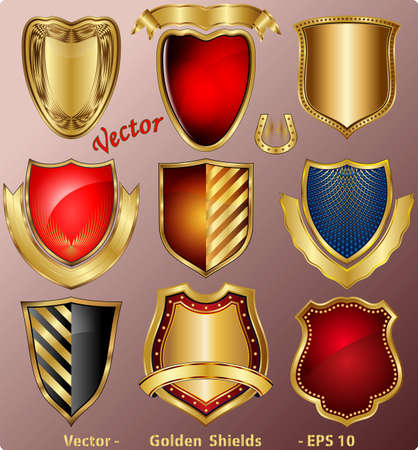 shield with wings: Golden Shields