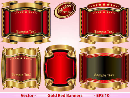 Gold Red Banners  Vector