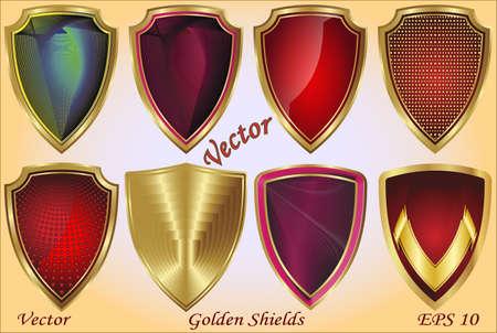 Golden Shields Stock Vector - 15499958