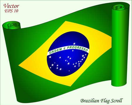 brazilian flag: Brazilian Flag Scroll Illustration