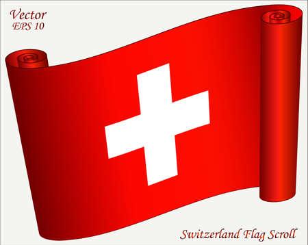 zwitserland vlag: Vlag van Zwitserland Scroll Stock Illustratie