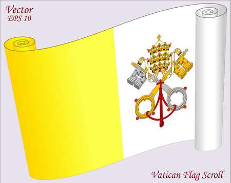 vatican city: Vatican Flag Scroll